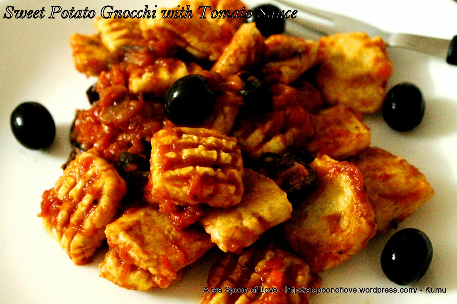 Paleo Sweet Potato Gnocchi with Tomato Sauce