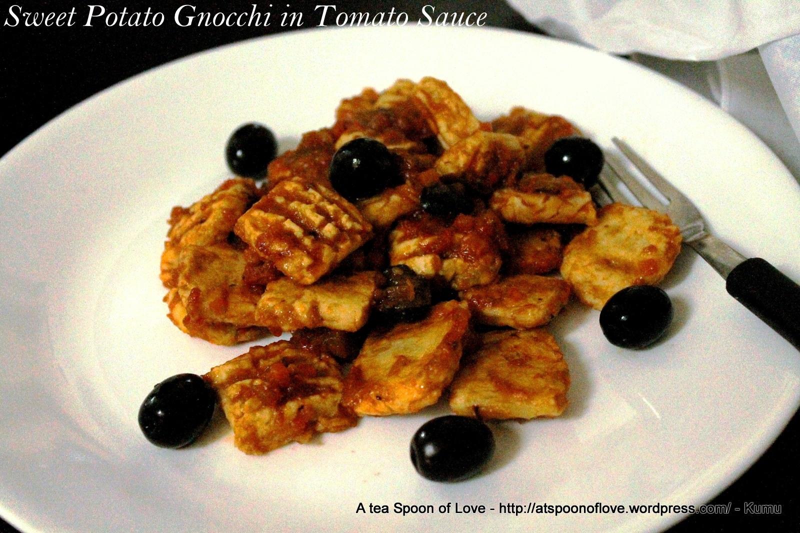 Paleo Sweet Potato Gnocchi with Tomato Sauce